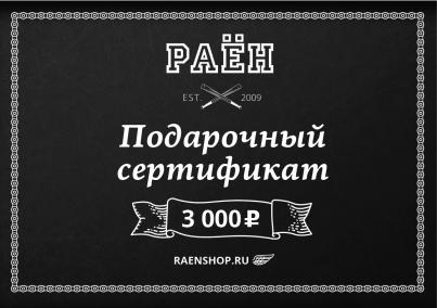 Сертификат Raenshop на 3000р, цвет
